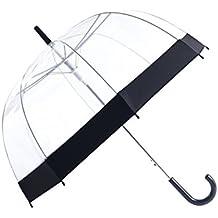 Paraguas Rainbrace-Transparente Burbuja, Apertura Automático, Cúpula Elegante con Borde de Color