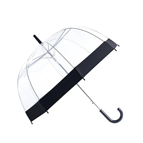 Rainbrace Transparent Bubble Regenschirm Automatisch Öffnen, Mode Dome Form mit Farbe Trim (Schwarz)