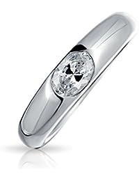 Bling Jewelry en plata esterlina CZ oval de 0,5 quilates Anillo de promesa