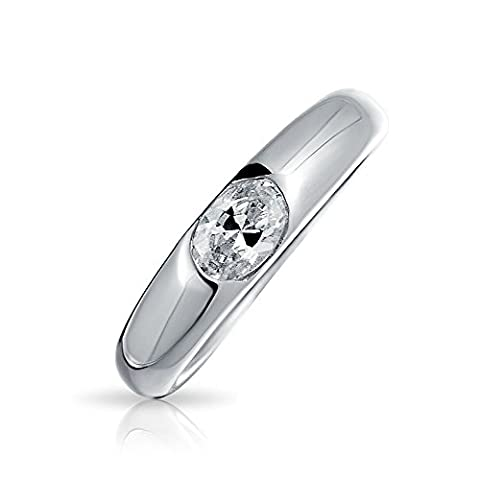 Bling Jewelry Sterling Silver .5 Carat CZ Oval Promise Ring