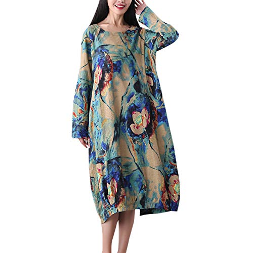 iHENGH Damen Frühling Sommer Rock Bequem Lässig Mode Kleider Frauen Röcke Baumwolle und Leinen Casual O-Neck Flower Printed Dress(Blau, L) -