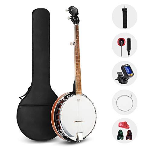 Vangoa 5 Saiten Banjo Remo Kopf geschlossen Solid Back mit Anfänger Kit, Stimmgerät, Strap, Pick-up, Saiten, Picks und Tasche (Die Banjo-saiten)
