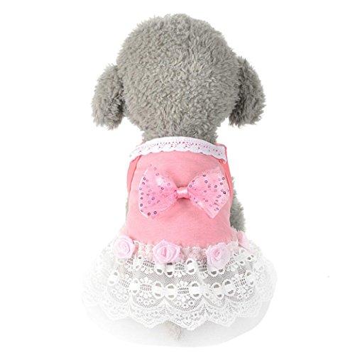 Hmeng Hund Katze Bogen Tutu Kleid Spitze Rock Haustier Welpen Hund Prinzessin Kostüm Kleidung Kleidung (L, Rosa)