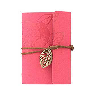 atdoshop(TM Vintage Dark Green PU Leather Cover Loose Leaf Blank Notebook Journal Diary Gift (Hot Pink)