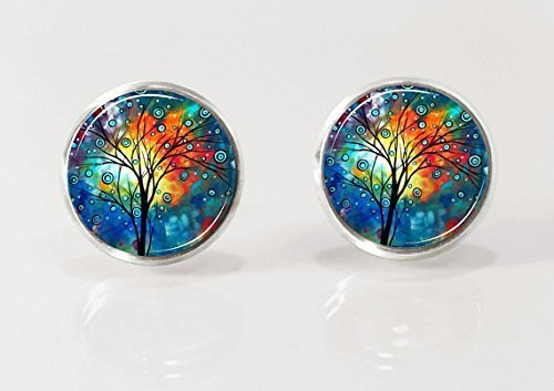 Tree of Life, Post Ohrringe, Ohrstecker, natur Schmuck, Glas Ohrringe, Bild Ohrringe, Bunt, Baum (Post Ohrstecker)
