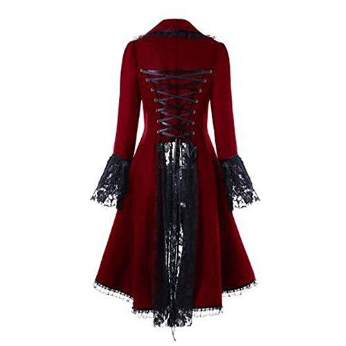 Baguette Kostüm - Briskorry Damen Steampunk Gothic Long Coat Frauen Vintage Langärmelige Taille Rücken Bandage Lace Stitching Jacke Overcoat Kostüm Cosplay Kostüm Smoking Uniform