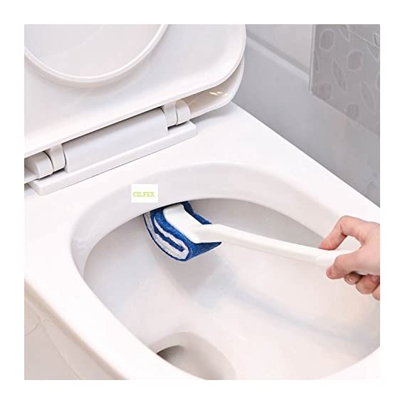 CILFEX Easy to Hang Scrub Sponge Scource Pad and Long Handle Toilet Brush for Cleaning Washing Bathroom and Commode, Medium (White Blue)
