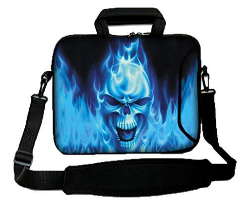 'Luxburg 12Zoll Umhängetasche Tasche Schutzhülle Tasche für Notebooks Weich mit Griff–Schädel Blau