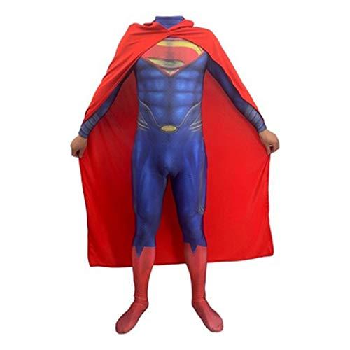 HYYSH Superman Kleidung Erwachsene COS Kleidung Hoch Mit Menschen Stahl Körper 2 Stück Körper Strumpfhosen Kinder Cosplay Kostüm Männlichen (Size : XL) (Zwei Stück Superman Kostüm)