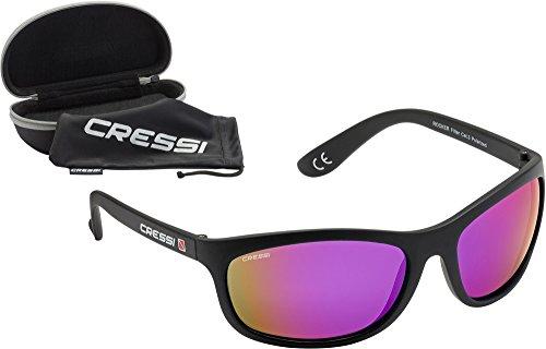 Cressi rocker occhiali da sole sportivi uomo con custodia rigida, unisex – adulto, nero/lenti specchiate viola
