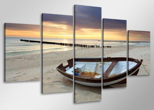 Quadro su tela spiaggia 100 x 50 cm 5 tele modello nr xxl 6403. i quadri sono montati su telai di vero legno. stampa artistica intelaiata e pronta da appendere