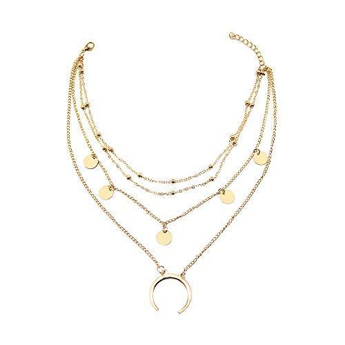 WikiMiu Collar de múltiples Capas para Las Mujeres, con un Colgante de la Luna, Collar Ajustable del ahogador, Joyería del Encanto de la Personalidad, Color Oro