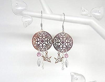 Boucles d'oreilles oiseaux origami mandalas feuilles or rose gold argenté perles verre de Bohême estampes mariage tendance moderne romantique idée cadeau
