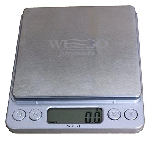 WEGO Balanza de cocina Digital, escala digital, escala carta con una precisión de 0,1 gramos, peso máximo es de 3 kg, que contiene varias unidades: / ml g / lb / oz - función de tara, ideal para el pesaje de ingredientes tales como especias harina de arroz, para joyería y letras , con dos platillos de pesaje.
