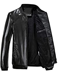 Emmay Jacken Herren Kaschmir Casual Kunstlederjacke Stehkragen Lederjacke  Seitentaschen Mit Zipper Wesentlich Mantel Coat d712e68372