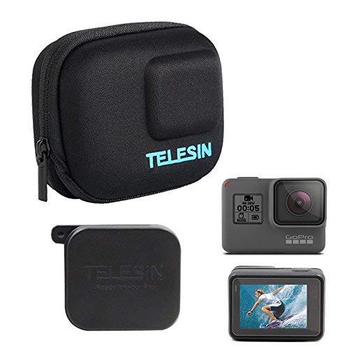 Telesin GoPro custodia protettiva da trasporto piccola + copriobiettivo Protector Cap + copriobiettivo + pellicola schermo LCD per GoPro Hero 2018Hero 6Hero 5Action Camera accessori