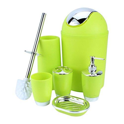Yosoo 6-Stück Luxuriös Badezimmer Set (aus Plastik) Bad Accessoire Set Lotion-Flaschen, Zahnbürstenhalter, Zahn-Becher, Seifenschale, Toilet Bürste, Mülleimer (Grün)