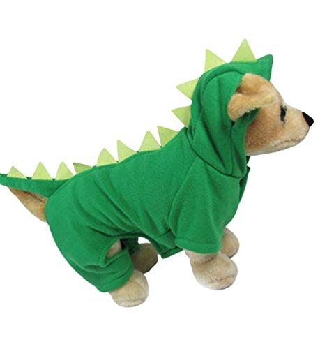 Yuncai Cool Dinosaurier Verkleidung Kostüme für Haustier Lustige Halloween Party Hund Kleidung Cosplay Grün (Halloween Kostüme Für Hund Lustig)