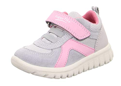 Superfit Baby Mädchen SPORT7 Mini Sneaker, Grau (Hellgrau/Rosa 25), 24 EU
