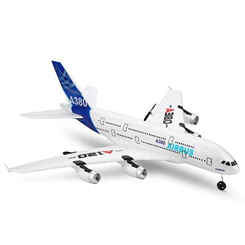 Jamicy Ferngesteuerte Flugzeuge,RC Segelflugzeug, WLTOYS A120-A380 Airbus 510mm Spannweite 2,4 GHz 3CH RC-Flugzeug Starrflügel RTF mit Fernbedienungs-Skala für Modus-2-Modus