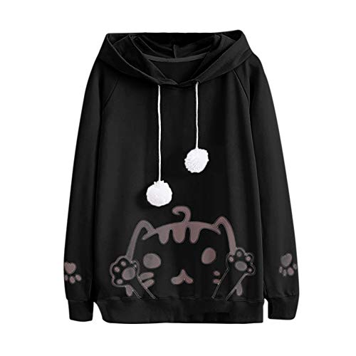 Teenager Mädchen Sweatshirt Casual Womens Long Sleeve Cat Printing Mit Kapuze Rundhals Bluse Tops MYMYG Rundhals Pullover Bluse Tops T-Shirt(Schwarz,EU:34/CN-S) -