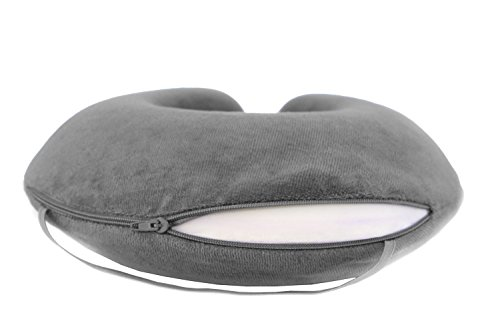 Travelrest – Therapeutic Memory Foam Travel & Neck Pillow – Washable Micro-Fiber Cover – Attaches to Luggage — Molds Perfectly To Your Neck And Head – 2-Year Warranty