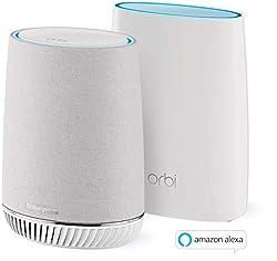 Netgear Orbi RBK50V Voice Mesh-WLAN-System (3.000 MBit/s Geschwindigkeit, Tri-Band 2er Set mit Mesh-Router + Satellit-Repeater mit Alexa Smart Home Harman/Kardon-Speaker, bis zu 300 m² Abdeckung)