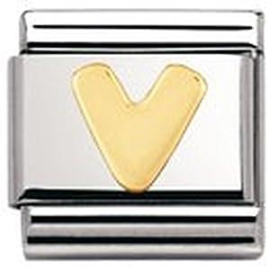 Nomination Composable Classic Buchstaben Edelstahl und 18K-Gold (V) 030101