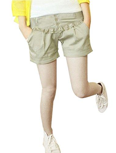 Femmes Braguette Zip Fermeture Bouton Poches En Biais Décontracté Short Court Beige