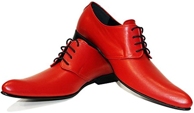 Modello Polipo - Handmade Italiano da Uomo in Pelle Rosso Scarpe da Sera - Vacchetta Pelle Morbido - Allacciare | Materiali Accuratamente Selezionati  | Uomo/Donne Scarpa