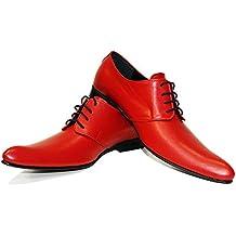 Modello Polipo - Handgemachtes Italienisch Leder Herren Rot Oxfords Abendschuhe Schnürhalbschuhe - Rindsleder Weiches Leder - Schnüren