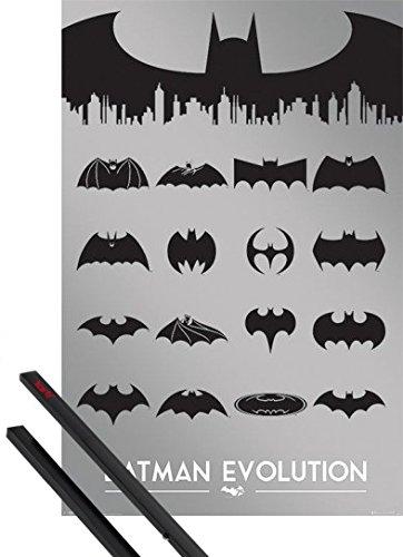 1art1 Poster + Hanger: Batman Poster (91x61 cm) Evolution Inklusive EIN Paar Posterleisten, Schwarz (Die Evolution Von Batman)