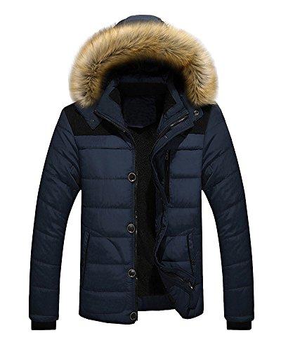 Uomo cappotto imbottito con cappuccio fodera pelliccia parka giacca lunga invernale blu medium