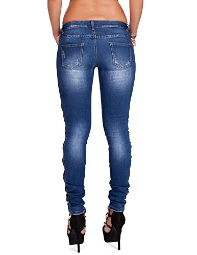 24brands Damen Jeans Röhrenjeans Skinny Jeans Hose mit Schleifchen - 2739 Blau