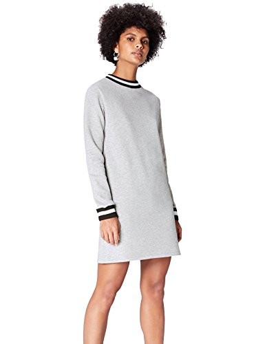 find. Robe Sweat-Shirt Bordures Rayées Femme, Gris, 36