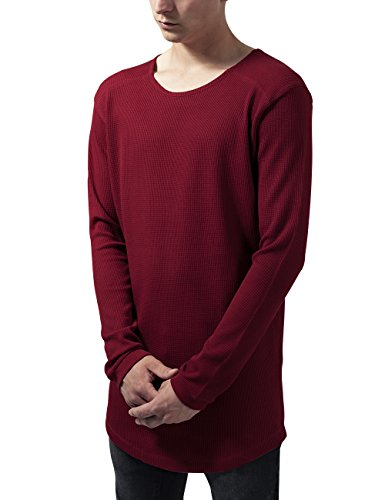 Urban Classics Herren T-Shirt Long Shaped Waffle L/S Tee, Rot (Burgundy 606), Medium (Langarm-polo-shirt Strukturierte)