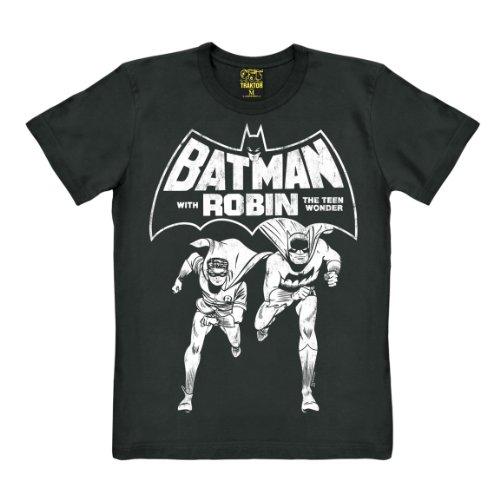 (Batman T-Shirt - Comic T-Shirt - Robin Shirt - schwarz - Original Marke TRAKTOR®, Größe XL)