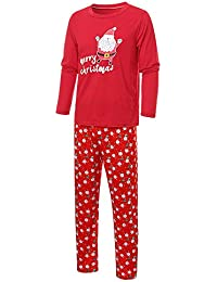 Bestow Hombre Daddy Santa Claus Tops Blusa Pantalones Familia Pijamas Ropa de Dormir Navidad Set Invierno