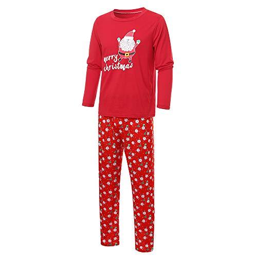 Weihnachten Kostüme Familie Passenden Lange Ärmel Weihnachtsmann Brief Gedruckt Outfits Eltern-Kind Kleidung T-Shirt Bluse Top + Hosen 2er Set Papa Mama Kinder Familie Kleidung Pyjama gesetzt (Eltern Kind Passenden Kostüm)