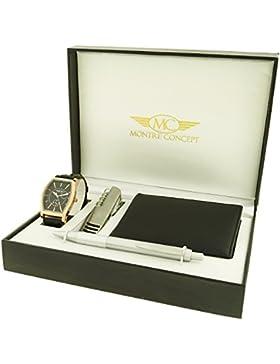 Montre-Concept - Geschenk-Set Männer uhr mit multifunktions - messer, brieftasche und Kugelschreiber : CCP-1-0074