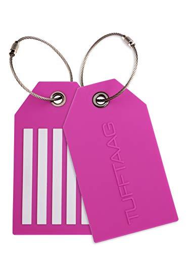 Gepäckanhänger | Kofferanhänger TUFFTAAG mit Dicken Edelstahldraht - Stark und Flexibel PVC - 2 Stück