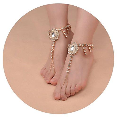 Bishilin 2 Pcs Damen Fußkette Gold Weiß Tropfen Zirkonia Knöchelkette Boho Strand Kette Gold