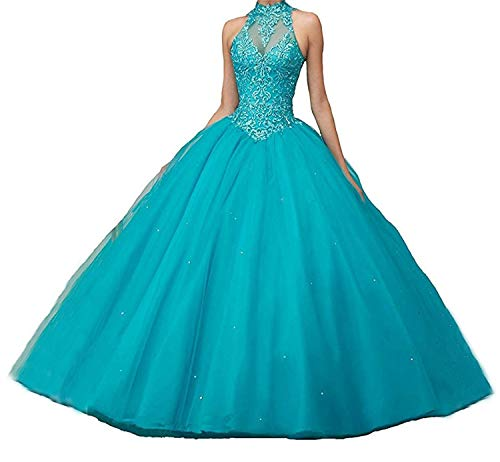 XUYUDITA Damen Open Back Ballkleid Spitze Perlen Prom Abendkleider Quinceanera Kleider Aqua Blue-38 -