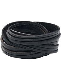 Big Cutted Leather Bracelet Lederarmband schwarz