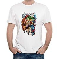 Z-X Americana Diseño Personalizado Impresión Cuello Redondo Camiseta Blanca Unisex, Blanco b, Metro