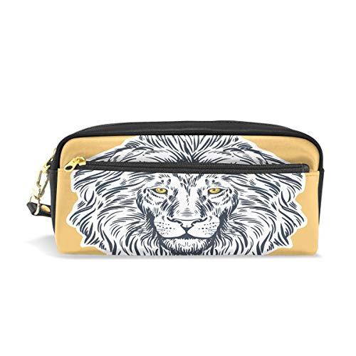 Pouch Federmappe mit Reißverschluss Große Make-up Tasche Löwe Comic Bleistift Tasche Bleistift Box für Jungen und Mädchen Kinder Schulbedarf -