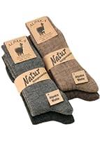 Alpaka Socken mit Alpakawolle weich und warm, 4 Paar,