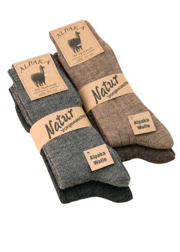 Alpaka Socken mit Alpakawolle weich und warm, 4 Paar, (35-38, 4 Farben)
