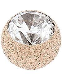 Stahl Schraubkugel Diamantoptik mit Kristall roségoldfarben 1,2mm Kugel 4mm