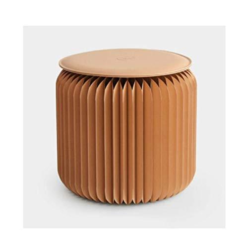 Jiansheng Klappbarer Trittleiter, Fashion Creative Furniture Klappbarer Couchtisch Kurzer Hocker, Rot, Holzfarbe, Weiß, Schwarz (hoch 28 * Durchmesser 32 * cm) (Color : Wood) (Kurze Trittleiter)